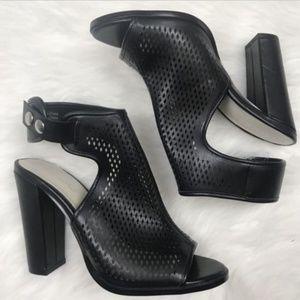 Aldo Black Ankle Booties Sandals Block High Heels